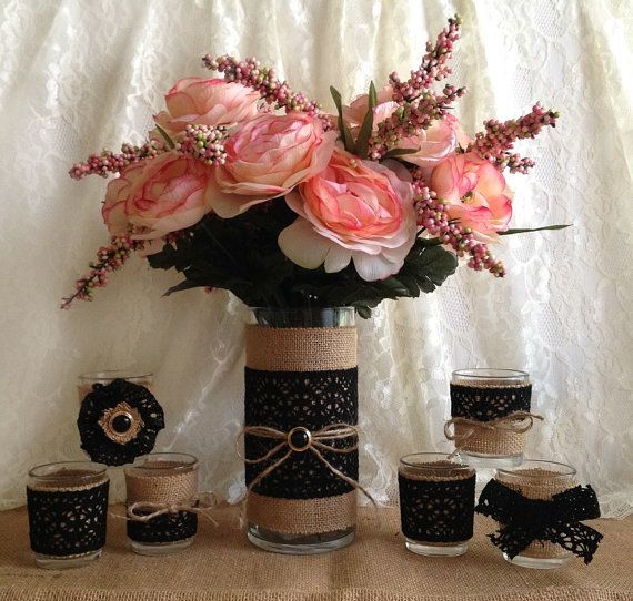 rustic burlap and black cotton lace covered vase and votive tea candles, wedding, bridal shower, party table centerpieces on Etsy, $49.00