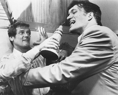A lot more of a relaxed version of the fight scene between JB (Roger Moore) and Jaws (Richard Kiel).