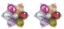 ADORNIA Sterling Silver And Crystal Multi Color Flower Studs.