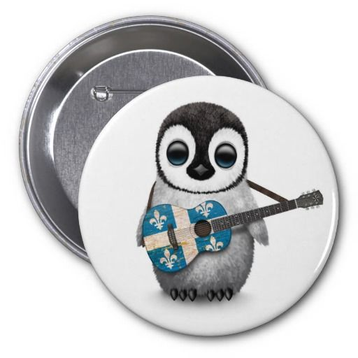 Baby Penguin Playing Quebec Flag Guitar Button