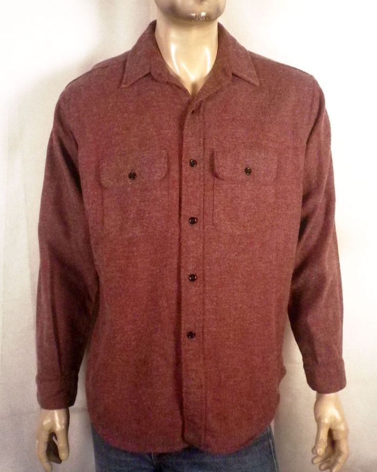 vtg 60s 70s Five Brother USA made Dark Red Flannel Shirt black buttons Grunge L
