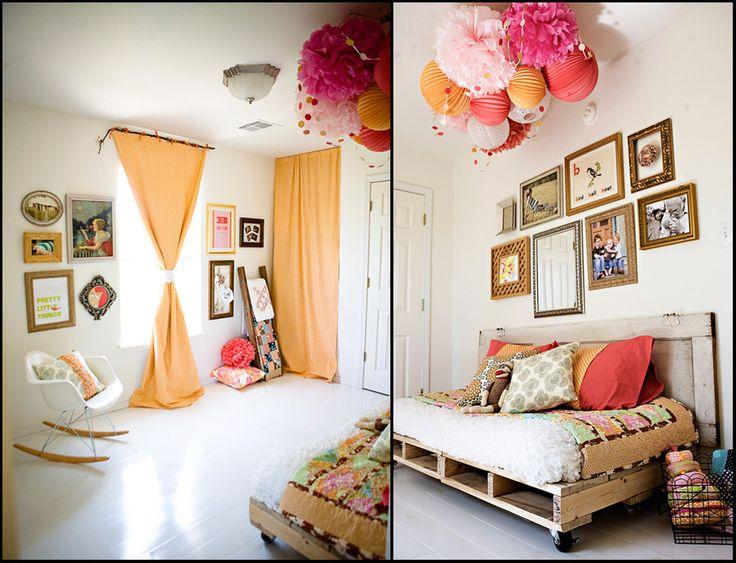 baby girl roomIdeas, Pallet Beds, Pom Poms, Nurseries, Paper Lanterns, Pompom, Girls Bedrooms, Pallets Beds, Girls Room