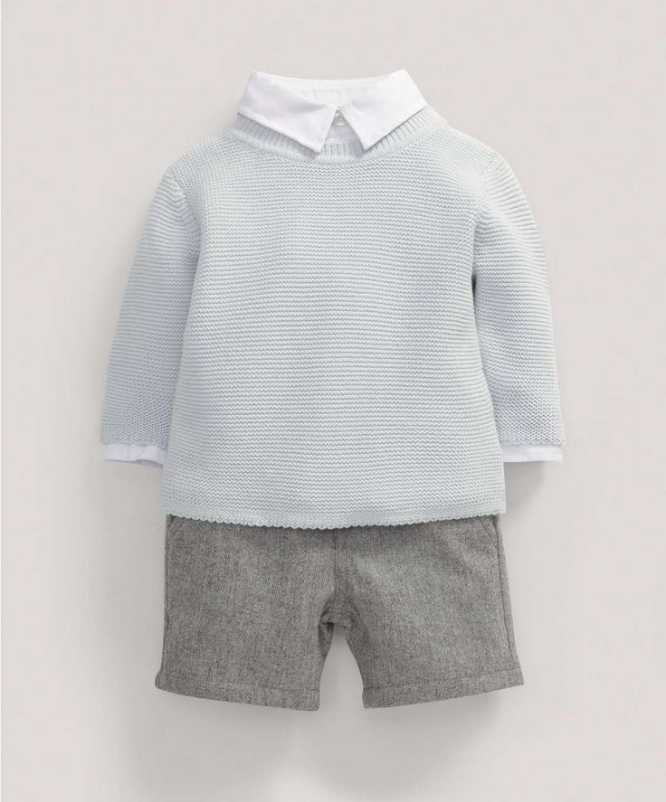 Boys Welcome to the World Three Piece Shirt, Cardigan and Grey Wool Trouser Set - Christening & Occasion - Mamas & Papas