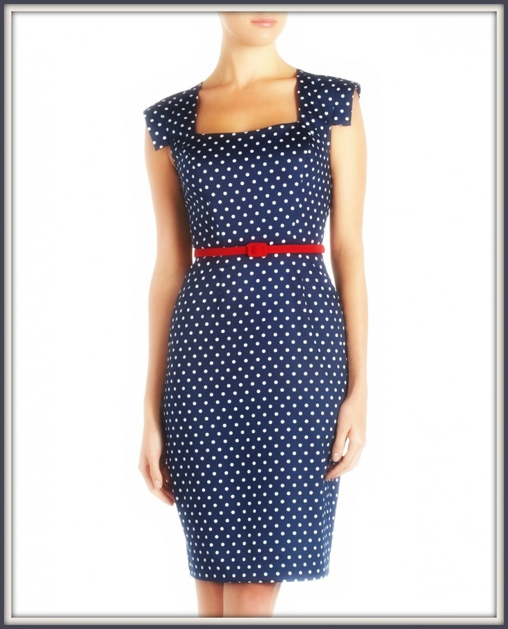 Navy Blue Dress With Polka Dots And White Shoes