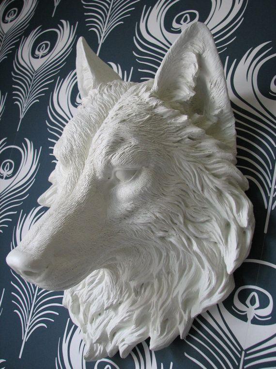 Faux Taxidermy Full Size Wolf Head Wall Decor by mahzerandvee,