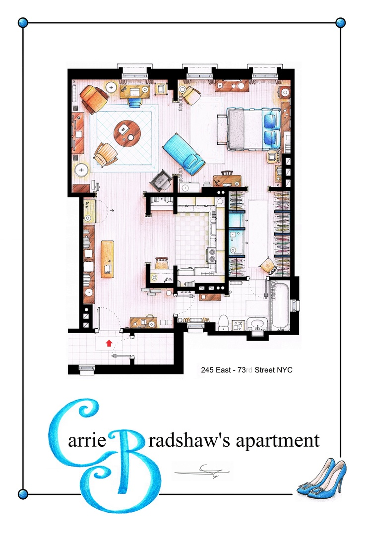 Carrie bradhsaw 39 s apartment as a poster you can buy an for Buy floor plan