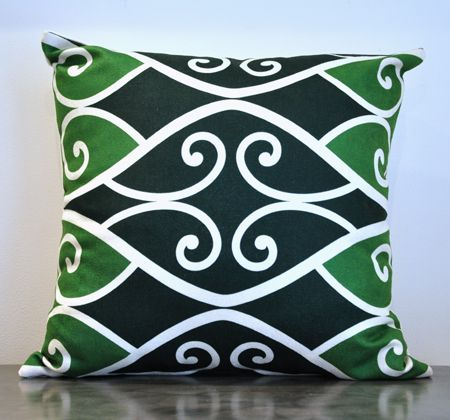 Borrowed Earth Design Kura Gallery Maori Art Design New Zealand Kowhaiwhai Ngahere Cushion