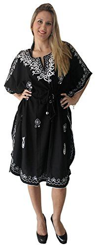 La Leela Black Hand Embroidered Rayon Beach Swimwear Plus Cover Up Dress Caftan. Do YOU want COVER UPS in other colors Like Red | Pink | Orange | Violet | Purple | Yellow | Green | Turquoise | Blue | Teal | Black | Grey | White | Maroon | Brown | Mustard | Navy ,Please click on BRAND NAME LA LEELA above TITLE OR Search for LA LEELA in Search Bar of Amazon. US Size : From Regular 14 (L) TO Plus Size 28W (4X) ➤ UK SIZE : FROM REGULAR 14 (M) TO 30(XXXL) ➤ BUST : 56 Inches [ 142 cms ]➤ Length…