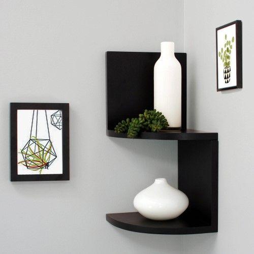 Kiera Grace Priva 7 Corner Shelves Black Set Of 2