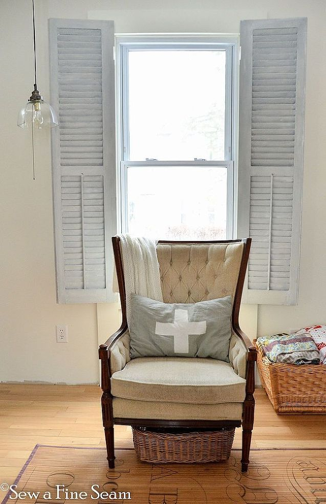 Shutters as Window Treatments - For my living room windows I used vintage shutters on the inside as my window treatments instead of curtains. The shutters were…