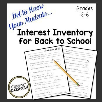 Have a new group of kids starting 2017? Try this Back To School Interest Inventory. Take the info you gather from your students and use it to spark conversations or take their interests and include them in your lessons. Also acts as an informal beginning of school year writing assessment.