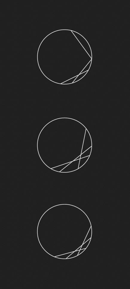 Circle and line designs. Can be used to represent important times (The circle is a clock and the lines are connection from hour to minutes)