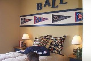 Fun sports themed bedroom.