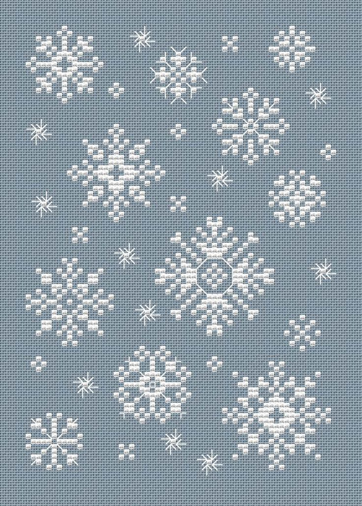This charming chart for cross stitch or needlepoint by Sue Hillis is a gift to stitchers from 1-2-3-Stitch. I love that the snowflakes are so pretty and are in several sizes. You can stitch just one to be the center of an ornaments or scatter several of the small ones around a dark blue canvas [...]