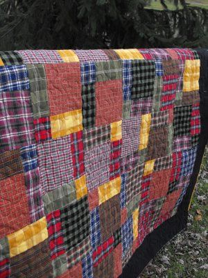 Plaid flannels of large squares and rectangles.  Hanging On by a Needle and Thread: Flannel Scraps