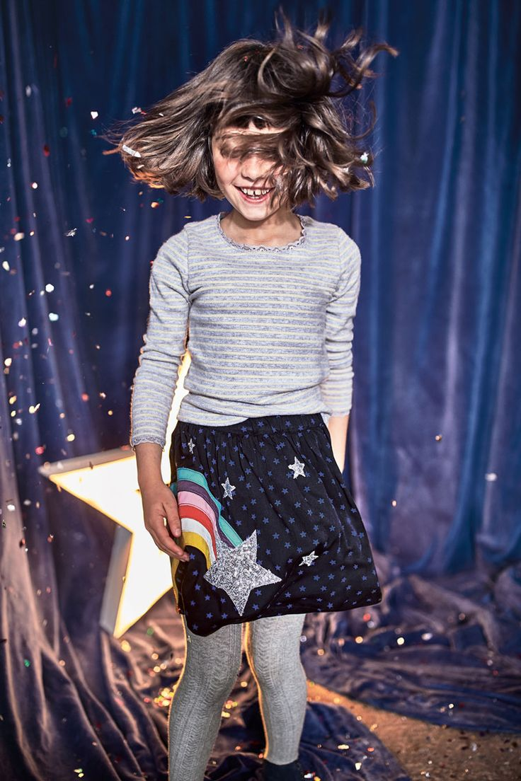 Our appliqué skirt is something really special. It has two options (a star and polar bears) covered in glittering sequins, while its pretty embroidery is run through with sparkly metallic thread. An elasticated waistband keeps you comfortable no matter what adventures you get up to.