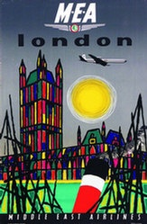 Middle East Airlines poster for London destination circa 1960s. Gorgeous.