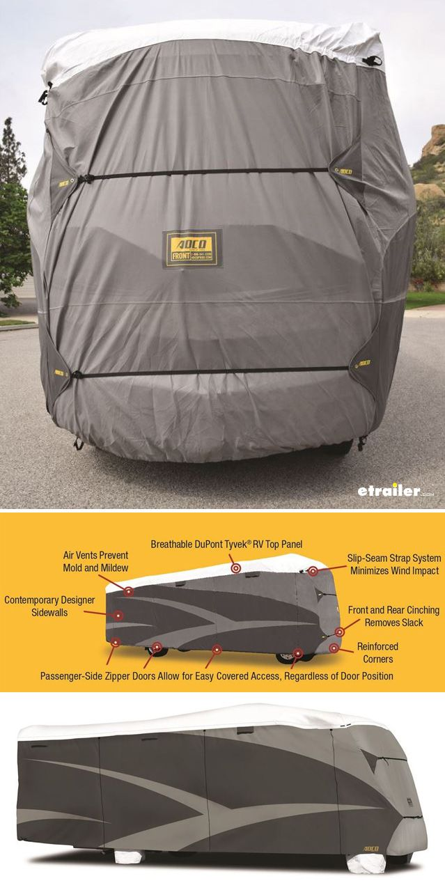 Cover and protect your RV in the off season or when not in use with this weather resistent cover.  Designed for wind, high sun exposure, high moisture, snow, and long-term storage Slip-seam strapping system cinches at the top and bottom for a perfectly snug fit and to minimize wind impact.