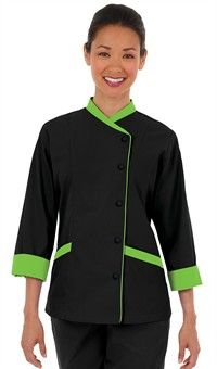 Women's Contrast Trim 3/4 Sleeve Chef Coat - Snap Front Closure - 65/35…