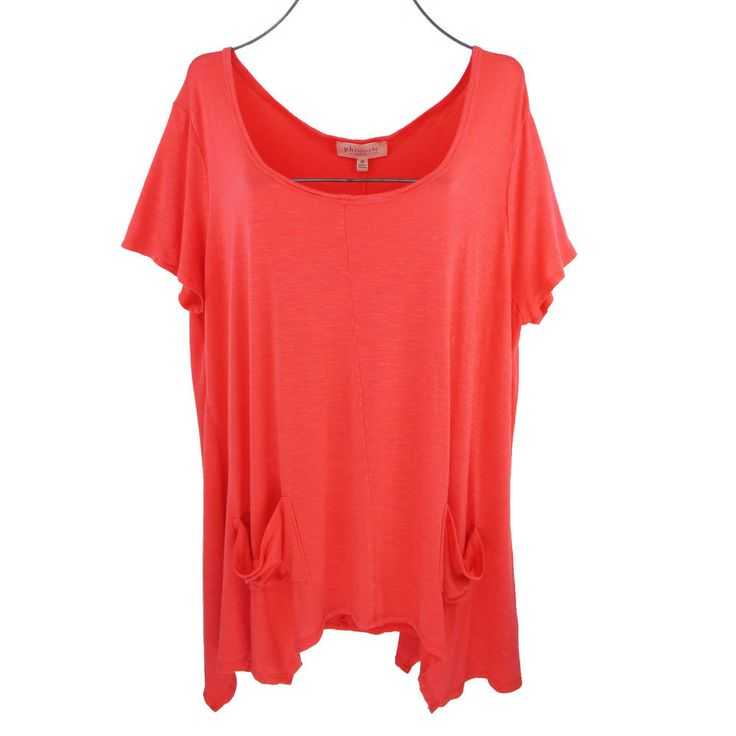 Philosophy 2X Tunic Top Plus Size Orange Short Sleeve Jersey Asymmetrical Artsy #Philosophy #Tunic #Casual