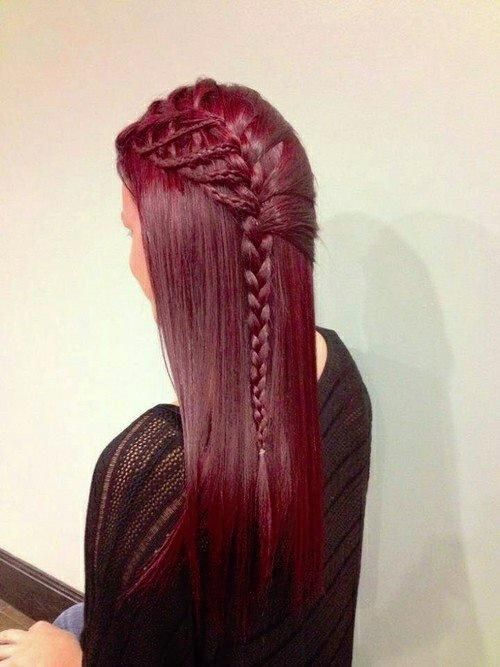 Burgundy Side Braid - Hairstyles and Beauty Tips