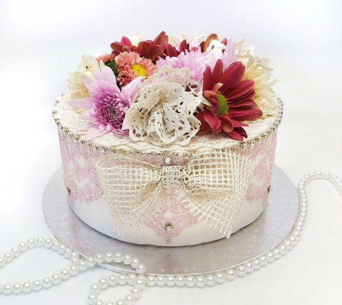 High tea Cake- SAVANNAH mat lace and edible lace bow