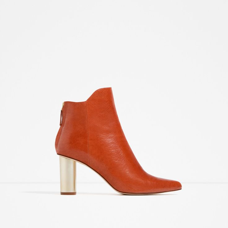 ZARA - WOMAN - LAMINATED LEATHER HIGH HEEL ANKLE BOOTS