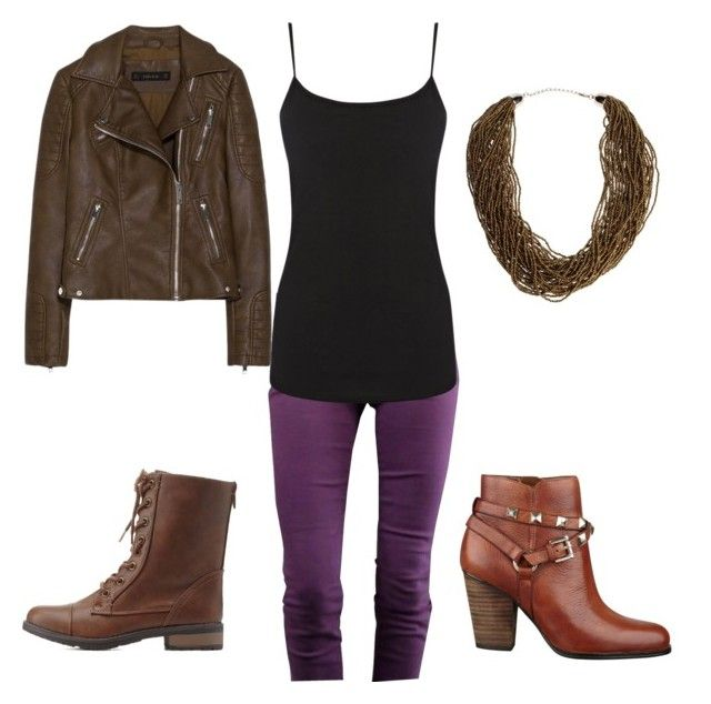 """""""look 20"""" by astridv ❤ liked on Polyvore featuring Joe's Jeans, Warehouse, Zara, GUESS, Charlotte Russe, Dettagli, Boots, leatherjacket and jeans"""