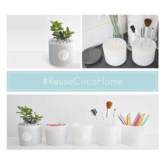Reuse your candle jars for succulents, make up brushes, stationary & more!