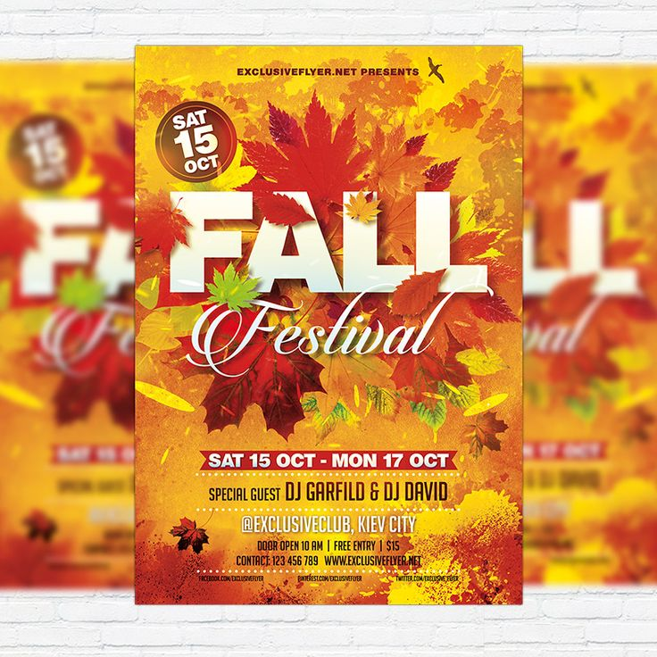 Fall Festival Vol3 - Premium Flyer Template + Facebook Cover   - fall flyer