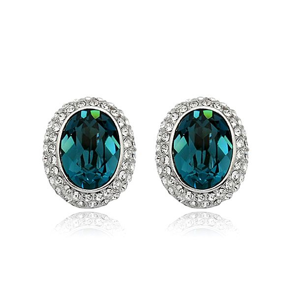 oval turquoise stud earring with crystal halo for the bride, something blue