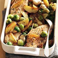 Kipfilet met gemarineerde groenten uit de oven