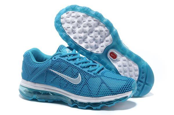 Nike Air Max 2013 Mesh Men's/Women's shoes Peacock Blue/White YX