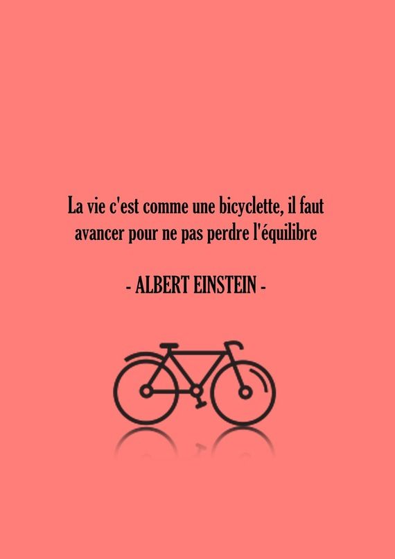 Affiche poster citation Albert Einstein corail - Typographie Citation Bicyclette - La vie c'est comme la bicyclette Typographie corail