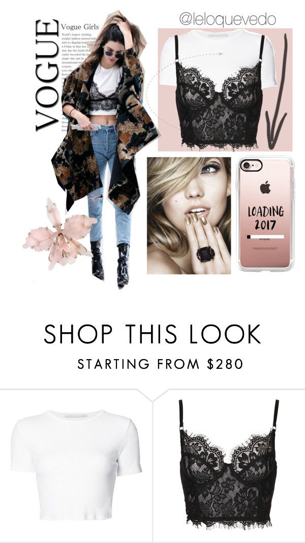 """lace shirt over cami"" by leloquevedo on Polyvore featuring moda, Rosetta Getty y Casetify"