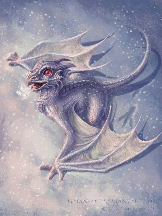Ice Dragons are normally white or a very light blue or pale pink. They migrate from the Arctic to Antarctic regions to ensure that they stay in darker, winter climates. Lairs or nests are normally a cave facing the sea, normally a hollowed glacier or iceberg. These dragons eat polar bears, killer whales, giant squid, walrus, and leopard seal, etc. They attack with a strong icy blast of air and shards of ice, and their tail, claws, and horns.