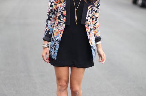 Floral blazer and black dress