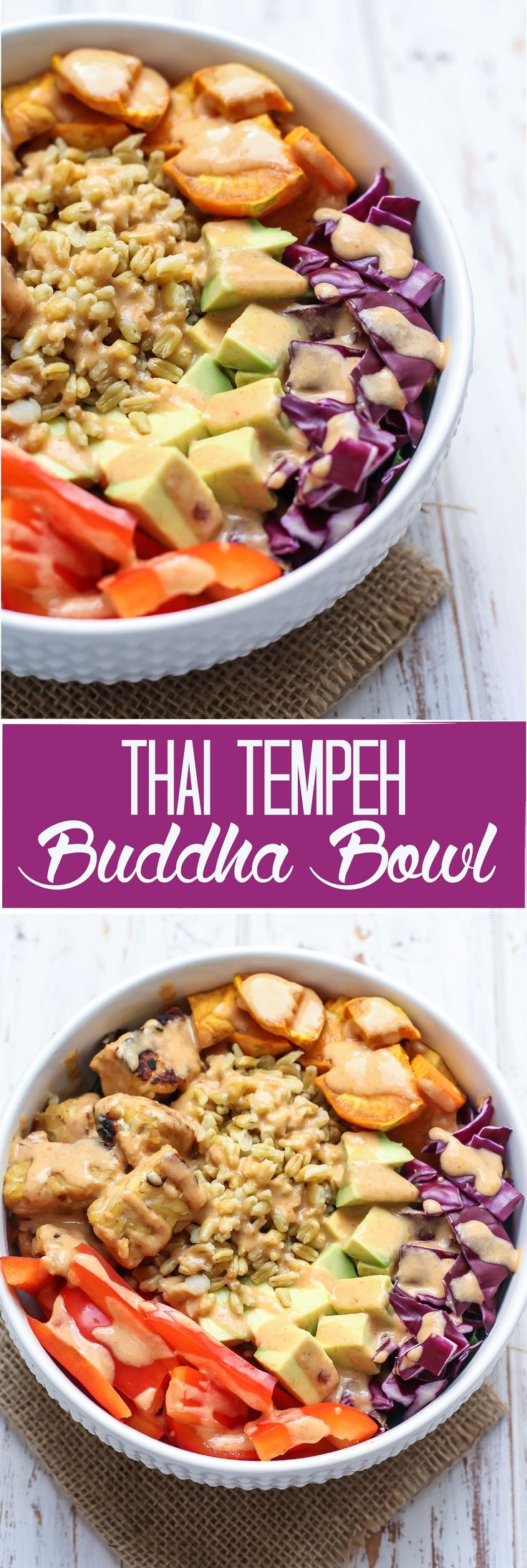 A super flavorful and seriously satisfying vegan Thai Tempeh Buddha Bowl, packed full with nutritious foods and drizzled with a simple cashew curry sauce, this meal comes together in just 30 minutes. 20 grams of plant-based protein and 16 grams of fiber!
