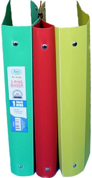 1 Inch 3 Ring Binder in Assorted Colors - 60 Units