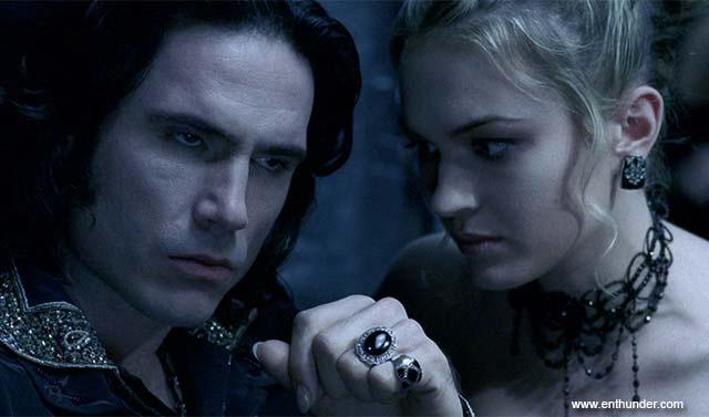 "Vampires Kraven (Shane Brolly) and Erika (Sophia Myles) confer in ""Underworld"" (2003)"