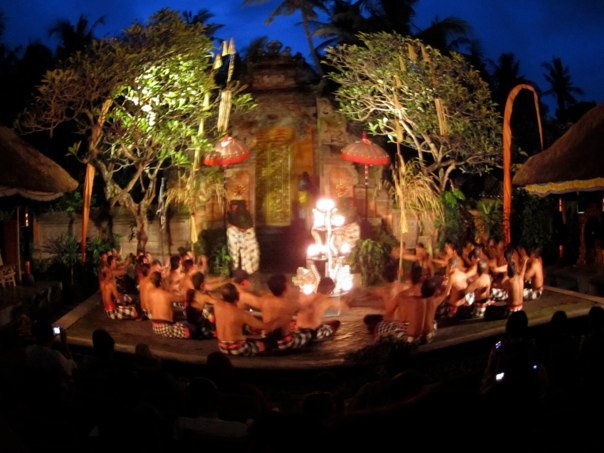 Kecak Dance at Batu Bulan, Bali. Taken with fish eye lense.