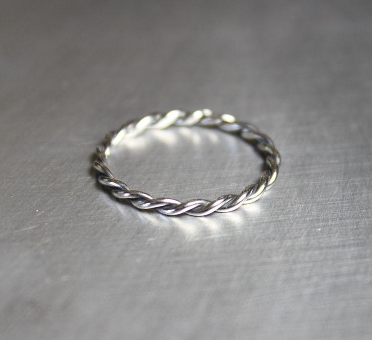 Silver+Twist+Ring+Braided+Ring+Thin+Ring+by+JenniferWood+on+Etsy,+$20.00