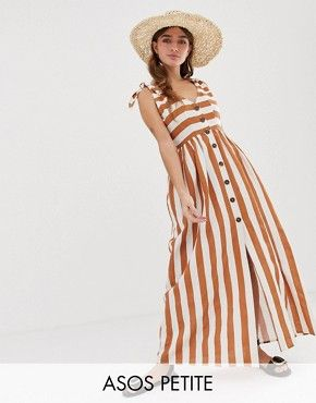 a4cadf7a6983 Asos Petite - Asos Design Petite Button Through Smock Maxi Dress In Stripe