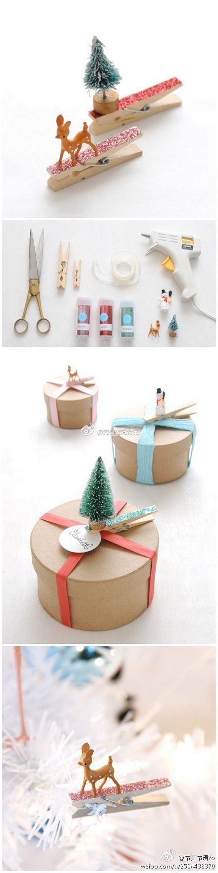 Christmas DIY: decorating clothespins to use for name tags on those Christmas…
