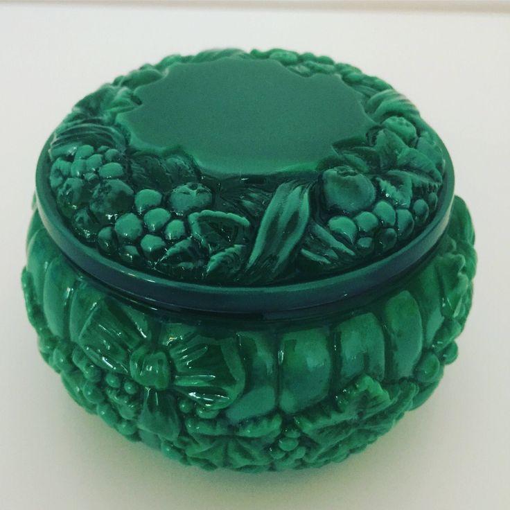 Czech/Malachite/Glass/jade/powder/pot/1930s by WifinpoofVintage on Etsy