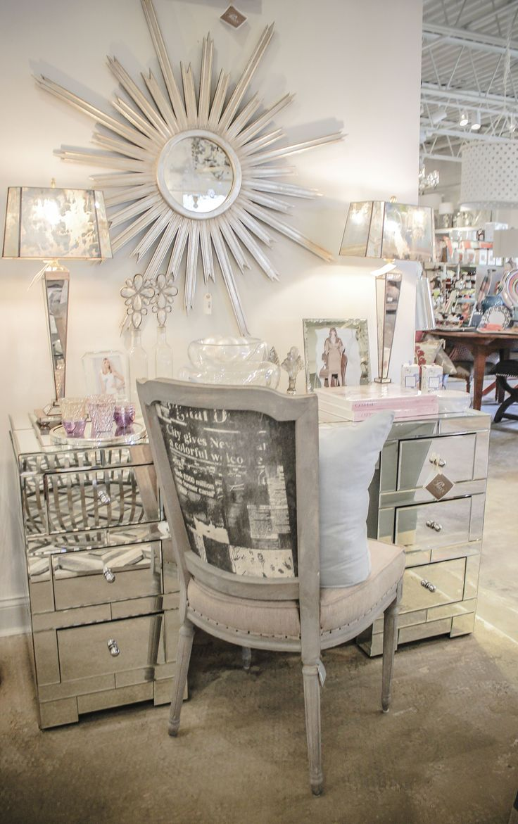 Mirrored Desk, starburst mirror, shabby chic chair and lamps... available now in our stores
