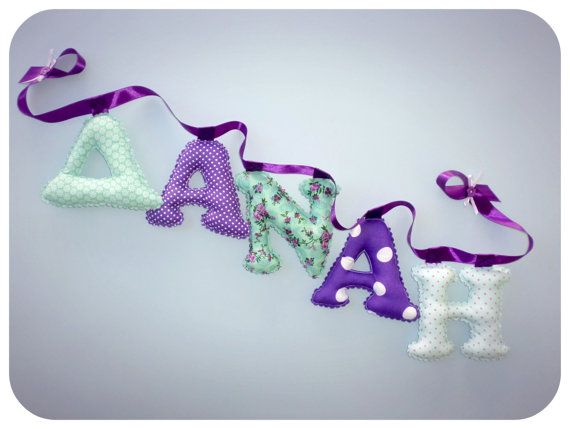 Purple and Mint Fabric letter name banner by LittleFairyCottage