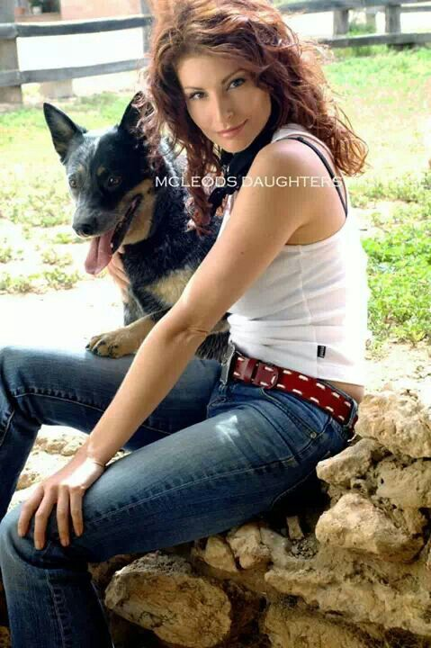 Stevie  (Jade ?) and her dog. McLeods Daughters, great tv, show. Natural beauty, gorgeous, portrait, photo