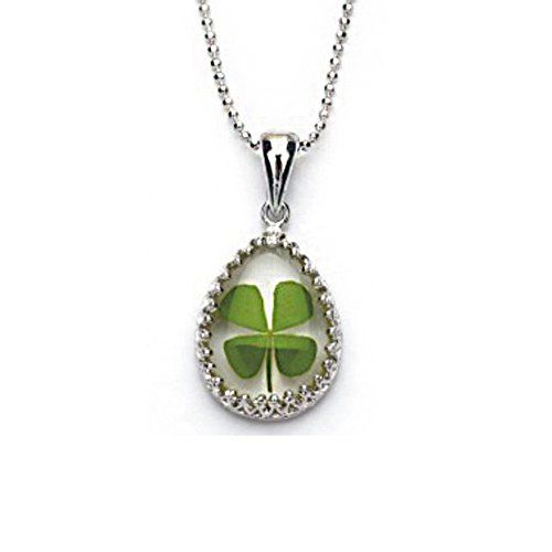 Stainless-Steel-Real-Irish-Four-Leaf-Clover-Teardrop-Shaped-Pendant-Necklace-16-18-inches