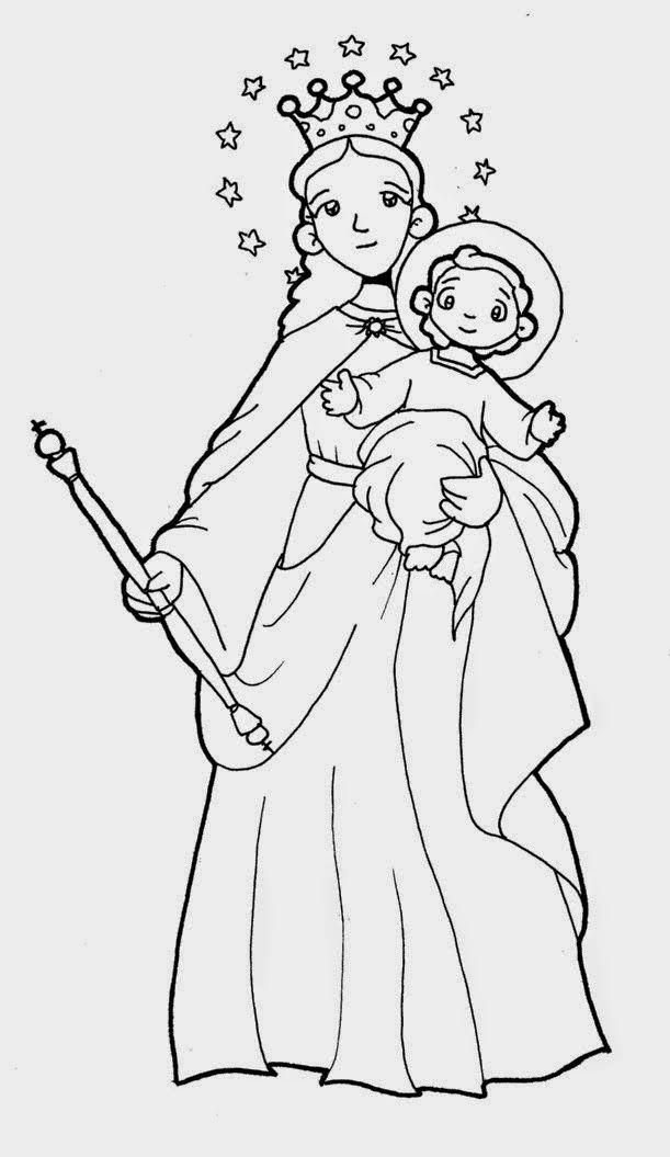 Imagen De La Virgen Maria Auxiliadora Para Colorear Catequesis
